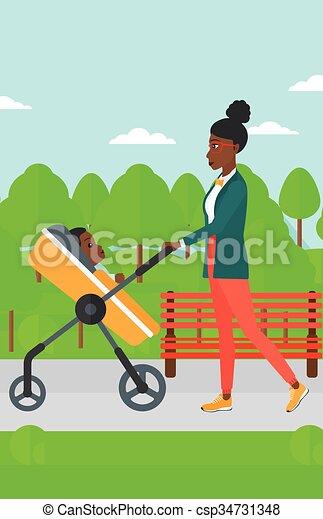 Woman pushing pram. - csp34731348