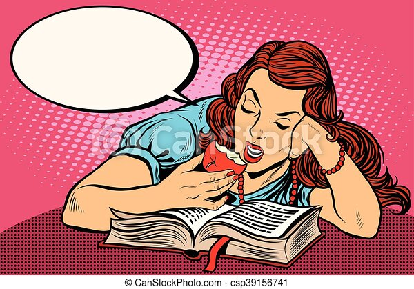 Woman reading a book and eating an Apple - csp39156741