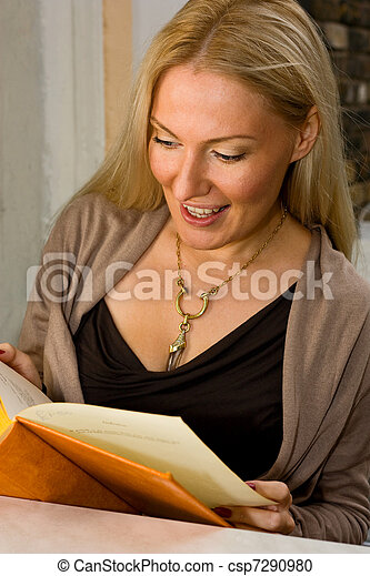 woman reading a book. - csp7290980