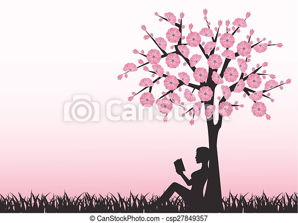woman reading a book under a tree silhouette of woman