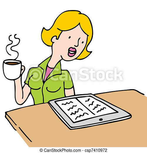Woman Reading An Ebook and Drinking Coffee - csp7410972