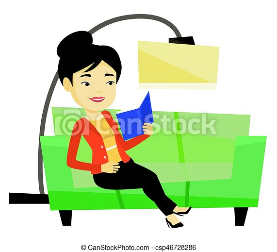 2e24a9aade4d Woman reading book on sofa vector illustration. Asian woman relaxing ...