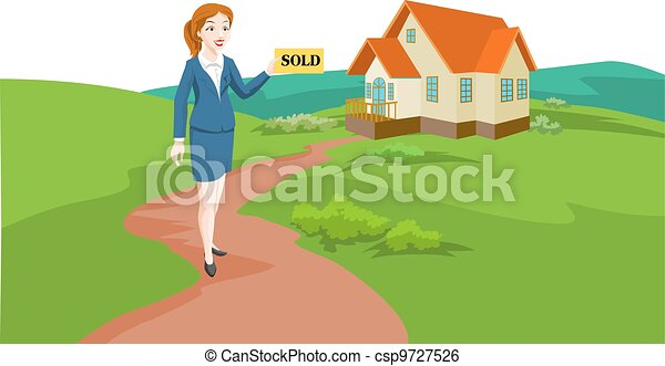 Woman Real Estate Agent Selling a House, illustration - csp9727526