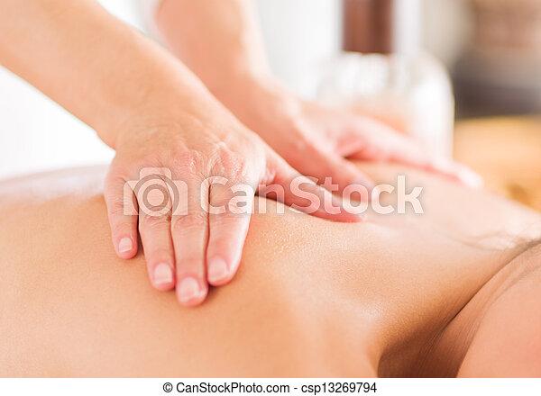 Woman Receiving Massage - csp13269794