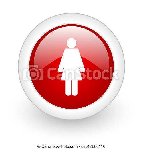 woman red circle glossy web icon on white background - csp12886116