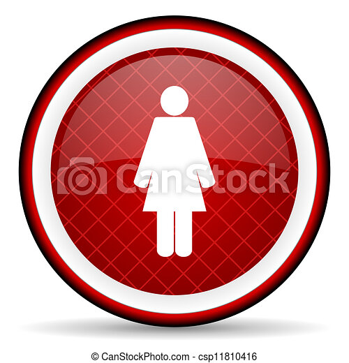 woman red glossy icon on white background - csp11810416