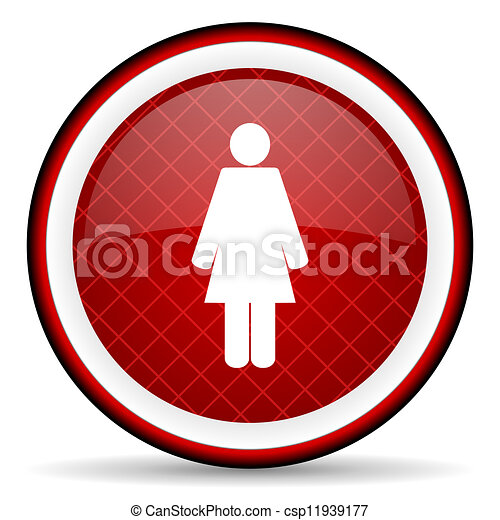 woman red glossy icon on white background - csp11939177