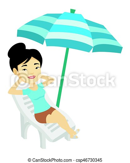 woman relaxing on beach chair vector illustration young eps rh canstockphoto com