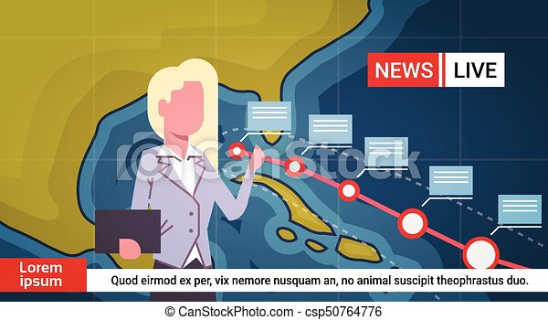 Woman Reporter Leading Life News About Hurricane Weather Broadcast Storm Or Tornado Image Coming To Usa Coast Concept - csp50764776