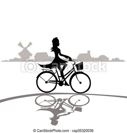 Woman Ride Bicycle Elegant Silhouette Fashion Dress - csp35320036