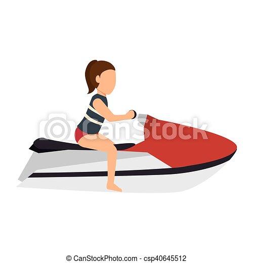 Woman Riding A Jet Sky Woman Riding A Jet Ski Cartoon Aquatic Sport Vector Illustration
