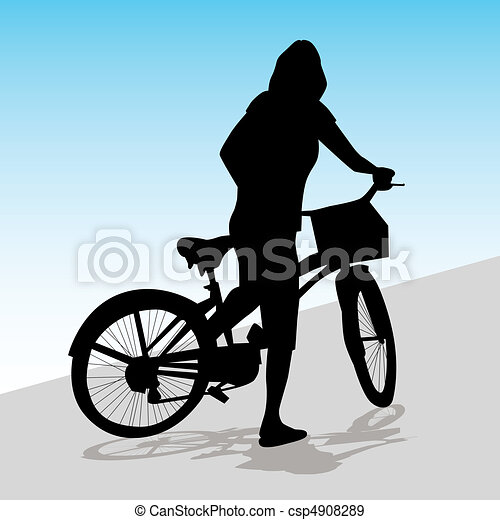 Woman Riding Bicycle - csp4908289
