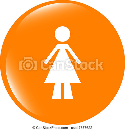 woman round glossy web icon on white background - csp47877622