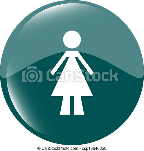 woman round glossy web icon on white background - csp13646850