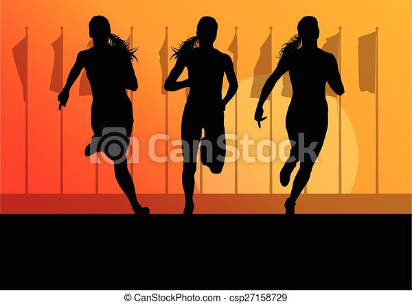 Woman runner female sprinter group - csp27158729