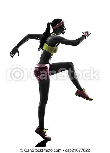 woman runner running silhouette - csp21677022