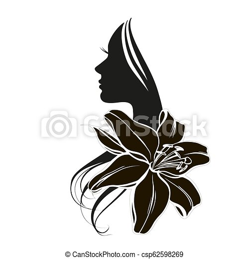 Woman s face in flower - csp62598269