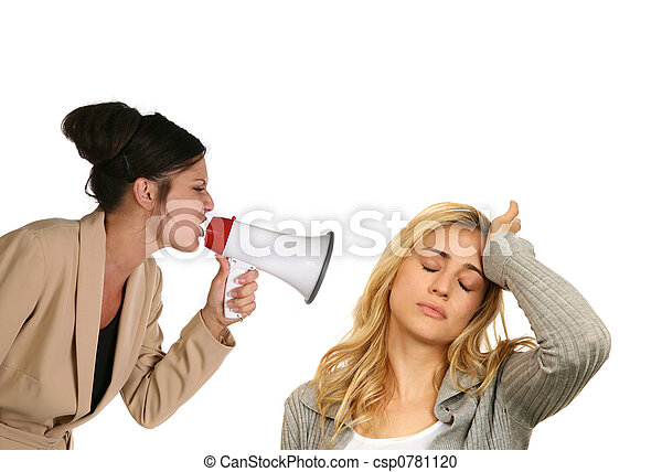 Woman Screaming at Anoher Female on White Background - csp0781120