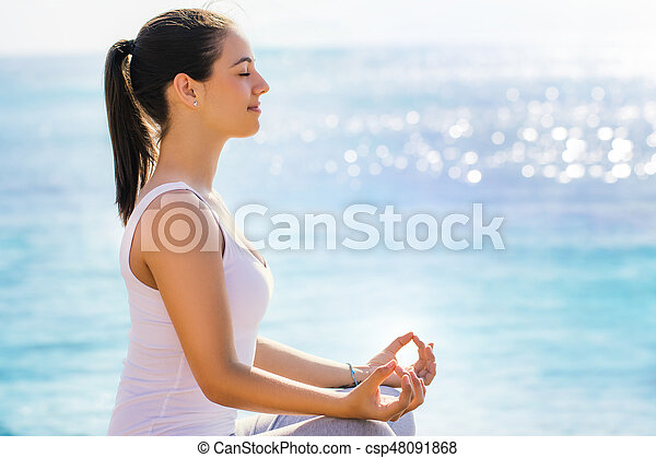 Woman searching for inner self at yoga session. - csp48091868
