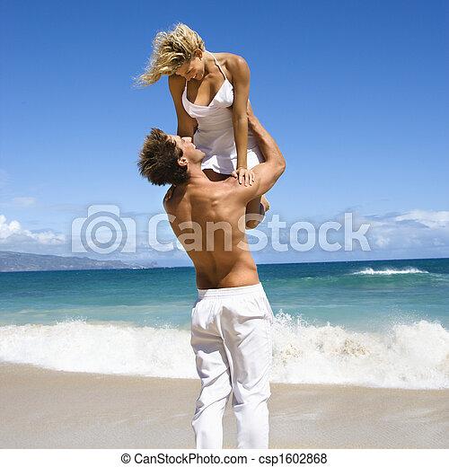 woman., segurando, homem - csp1602868