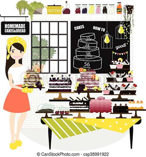 Woman selling cakes - csp38991922