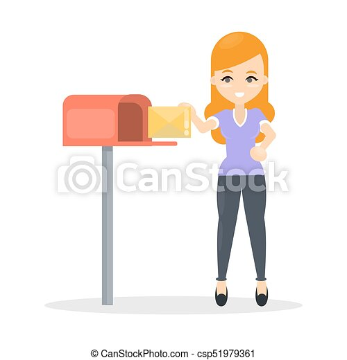 Woman Sending Letter Woman Sending Letter Using Mailbox On White