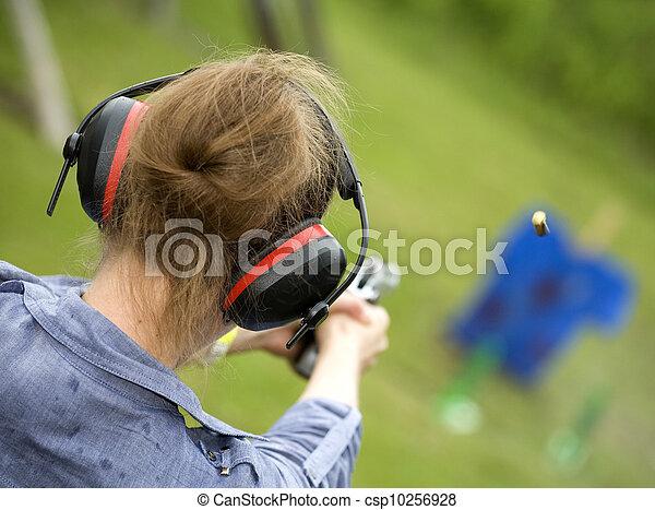 Woman shooter - csp10256928