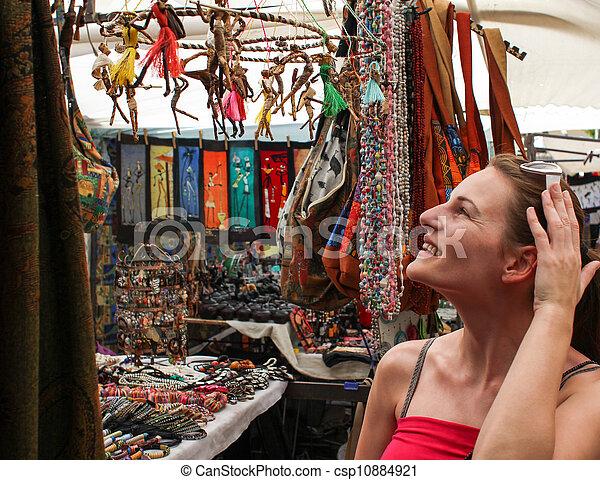 Woman shopping at market - csp10884921