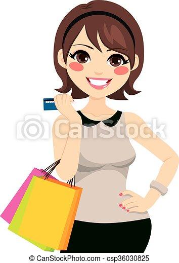 Woman Shopping Credit Card - csp36030825