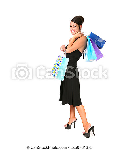 Woman Shopping for a Special Occasion in Black - csp0781375