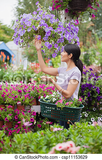 Woman shopping for flowers in garden center - csp11153629