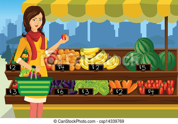 woman shopping in an outdoor farmers market a vector illustration rh canstockphoto com market clipart png farmers market clipart