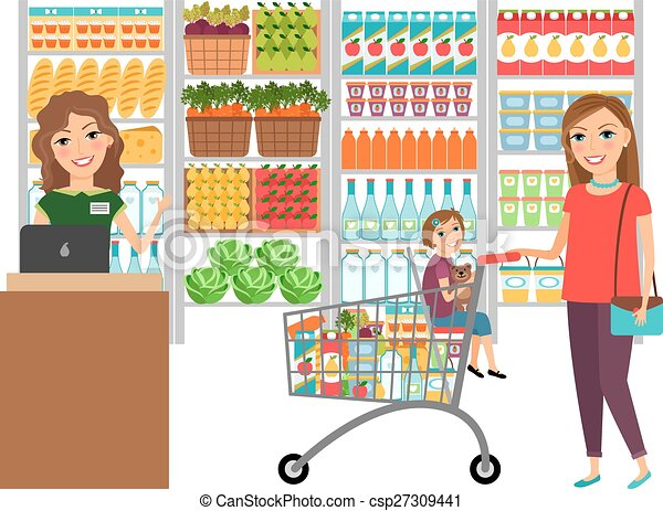 Full Grocery Cart Clipart Woman shopping in groc...