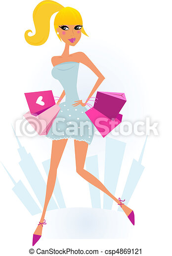 Woman Shopping in the City  - csp4869121