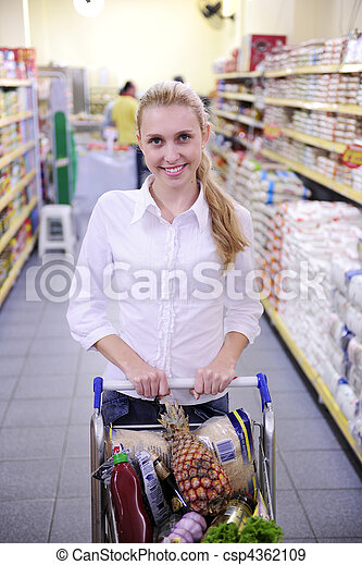 Woman shopping in the supermarket - csp4362109