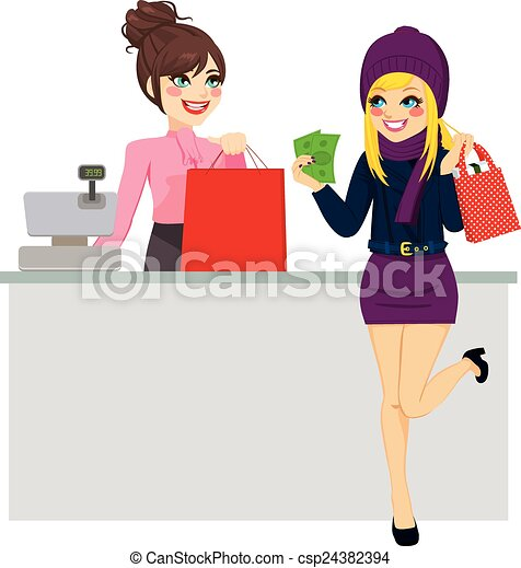 Woman Shopping Paying With Cash - csp24382394