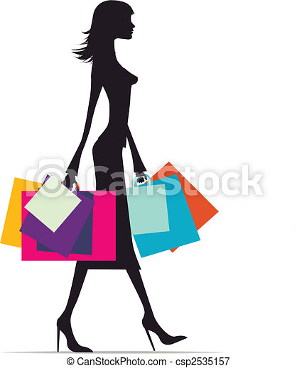woman shopping silhouette illustration of a fashionable