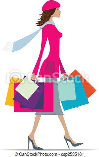 woman shopping illustration of a fashionable woman with vector rh canstockphoto com woman with shopping bags clipart woman with shopping bags clipart