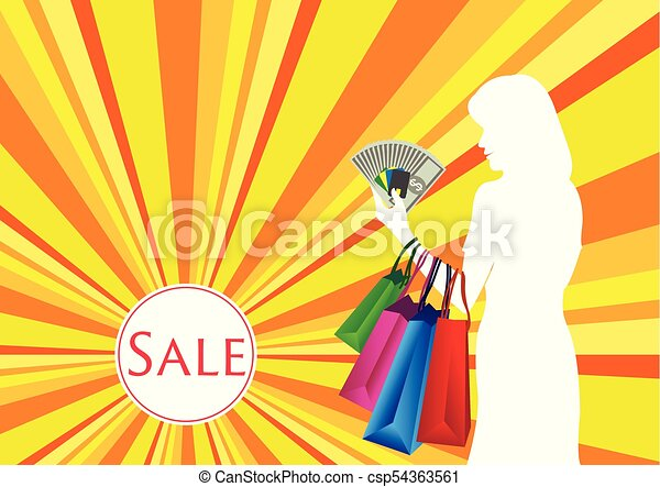 Woman Shopping with Cash and Card - csp54363561