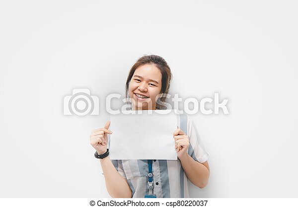 Woman showing blank white paper for copy space - csp80220037