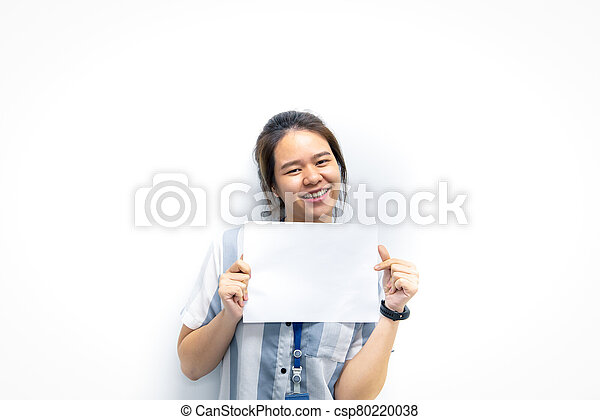 Woman showing blank white paper for copy space - csp80220038