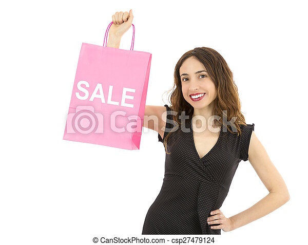Woman showing on paper shopping bag sale sign - csp27479124