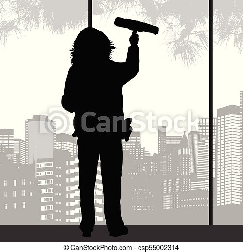 Woman Silhouette Cleaning Window With Squeegee