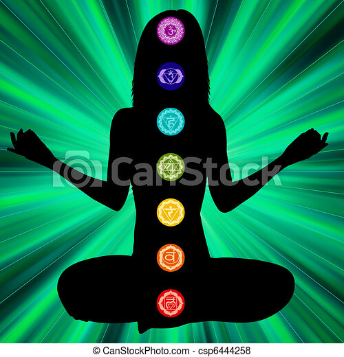 Woman silhouette with chakras on here body. EPS8 - csp6444258
