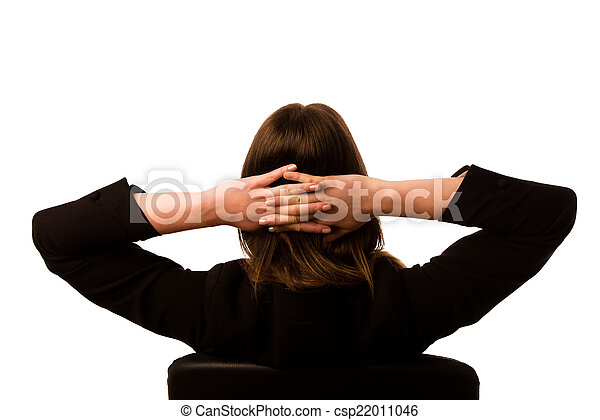 Woman sitting on a chair in office - csp22011046