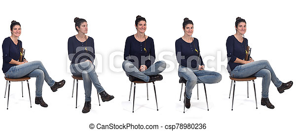 woman sitting on a chair - csp78980236