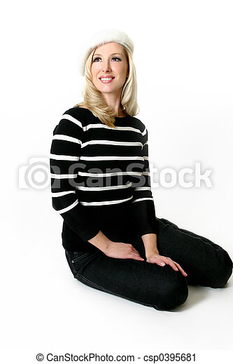 Woman sitting on floor - csp0395681