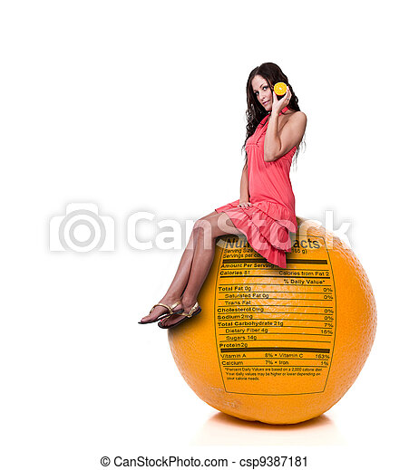 Woman Sitting on Orange with Nutrition Label - csp9387181