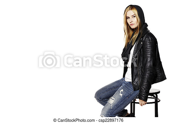 Woman sitting on stool - csp22897176