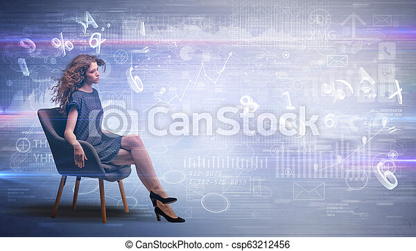 Woman sitting with numbers and reports concept - csp63212456